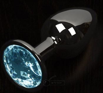 Графитовая анальная пробка с голубым кристаллом - 8,5 см.