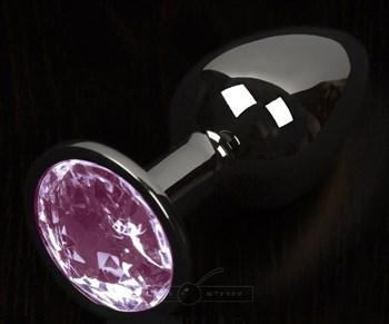 Графитовая анальная пробка с розовым кристаллом - 8,5 см.