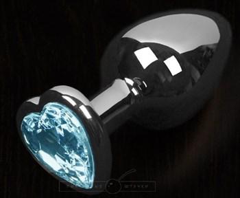 Серая анальная пробка с голубым кристаллом в виде сердечка - 6 см.