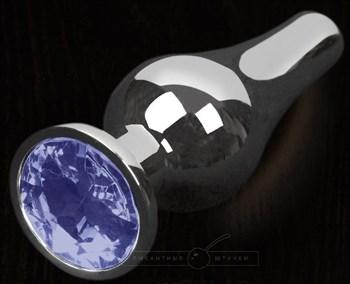 Серая анальная пробка с синим кристаллом - 12 см.