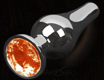 Серая анальная пробка с оранжевым кристаллом - 12 см.