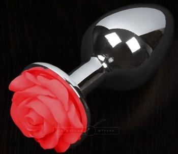 Серая анальная пробка с красной розочкой - 8,5 см.