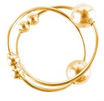 Золотистые клипсы на грудь с шариком Gold Nipple Bull Rings - фото 630740