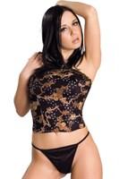 Цветочный топ-бюстье в стиле секси и трусики-стринг - фото 235188