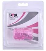 Розовая рельефная насадка на пенис - фото 204890