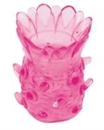 Розовая рельефная насадка на пенис - фото 291385