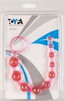 Розовая анальная цепочка из 10 шариков - 25 см. - фото 377547