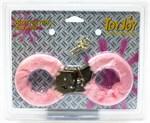 Розовые меховые наручники с ключами - фото 291535