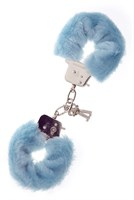 Голубые меховые наручники METAL HANDCUFF WITH PLUSH BLUE - фото 313157