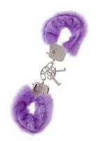Фиолетовые меховые наручники METAL HANDCUFF WITH PLUSH LAVENDER - фото 5225