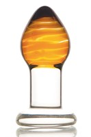 Стеклянная анальная пробка-стимулятор - 9 см. - фото 313284