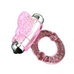 Эрекционное кольцо с вибростимулятором клитора в форме язычка - фото 84475