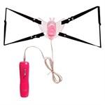 Розовая вибробабочка с фаллосом на регулируемых ремешках - фото 313417
