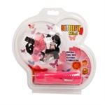Розовая вибробабочка с фаллосом на регулируемых ремешках - фото 313420
