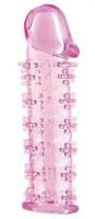 Гелевая розовая насадка на фаллос с шипами - 12 см.