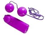 Фиолетовые вагинальные шарики с вибрацией - фото 313720