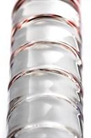 Стеклянный стимулятор с ручкой-шаром и цветными пупырышками - 22 см. - фото 239483