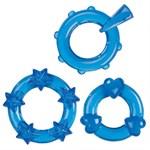 Набор из 3 синих эрекционных колечек Magic C-Rings - фото 292647