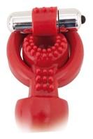 Красная вибронасадка с анальным стимулятором - фото 314044