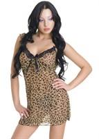 Сорочка и трусики-стринг с леопардовым принтом - фото 513204