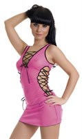 Розовое мини-платье и трусики-стринг - фото 237493