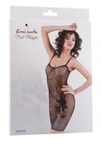 Черное бесшовное платье с вышивкой - фото 206223