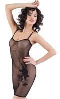 Черное бесшовное платье с вышивкой - фото 206221
