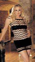Платье сетевое с широкими полосами и узорами - фото 204854