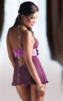 Прозрачная сорочка Fiore с поясом под грудью и трусиками-стринг - фото 514600