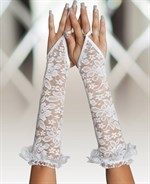 Длинные кружевные перчатки на пальчик - фото 697223