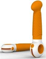 Оранжево-белый вибратор O-zone с ребристой поверхностью - фото 1236596