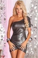 Серебристое платье с одним рукавом - фото 207365
