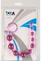 Фиолетовая анальная цепочка с кольцом - 25 см. - фото 1143219