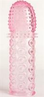 Гелевая розовая насадка с рельефом - 13,5 см. - фото 293705