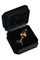 Золотистая маленькая анальная втулка с прозрачным кристаллом - 6 см. - фото 558594