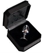 Маленькая серебристая анальная втулка с чёрным кристаллом - 6 см. - фото 176432