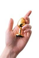 Маленькая золотистая анальная втулка с чёрным кристаллом - 7,2 см. - фото 178262