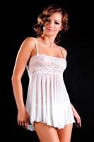 Белый комплект: сорочка и трусики-стринг - фото 239412