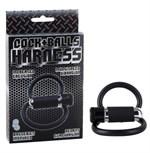 Черное двойное эрекционное кольцо COCK+BALLS HARNESS W. MULTISPEED BULLET - фото 7630