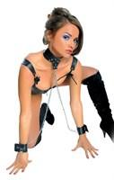 Ошейник и наручники, соединенные цепью, Leather Collar and Cuffs - фото 200153