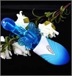 Голубой вибро-ротатор Порхающая бабочка - 21 см. - фото 239902