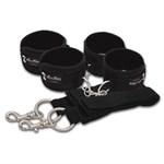 Две пары черных наручников, крепящиеся к матрасу - фото 413438