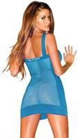 Сетчатое голубое платье с плотными вставками по бокам - фото 1143828