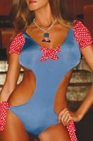 Красно-голубой купальник с открытой спиной Candy Dream - фото 7410