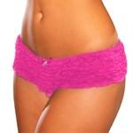 Неоново-розовые шортики с рюшками - фото 413534