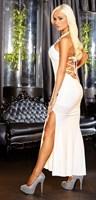 Белое вечернее платье в пол с нарядным декольте - фото 207813