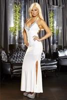 Белое вечернее платье в пол с нарядным декольте - фото 7865