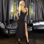 Черное вечернее платье в пол с нарядным декольте - фото 209223
