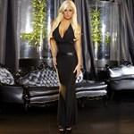 Черное вечернее платье в пол с открытой спиной - фото 449135