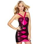 Комбинированное розово-черное платье - фото 413627